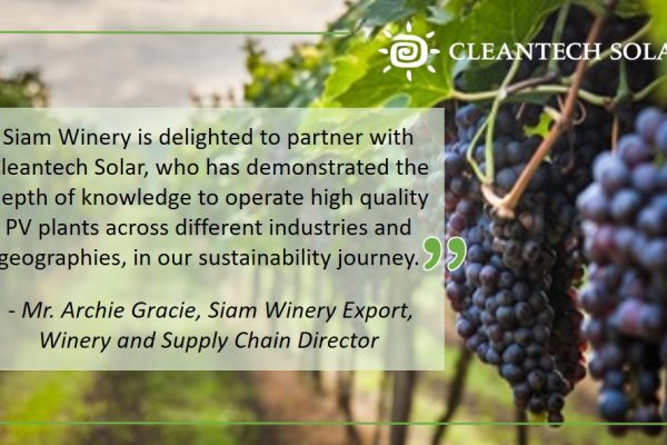 Cleantech Solar to power Thailand's largest and leading wine company, Siam Winery, with Solar Energy