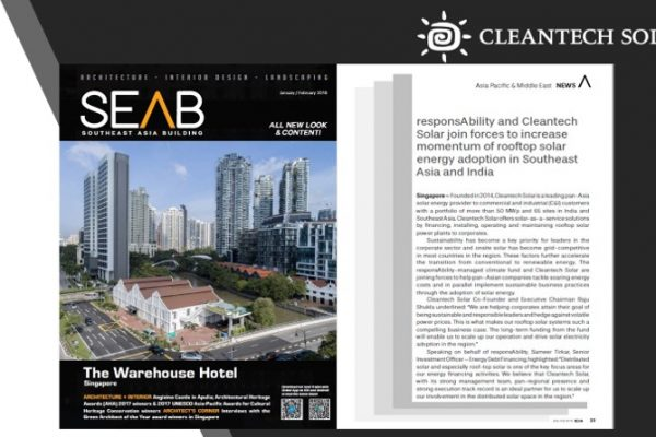 Green Building: Cleantech Solar featured in South East Asia Building Magazine