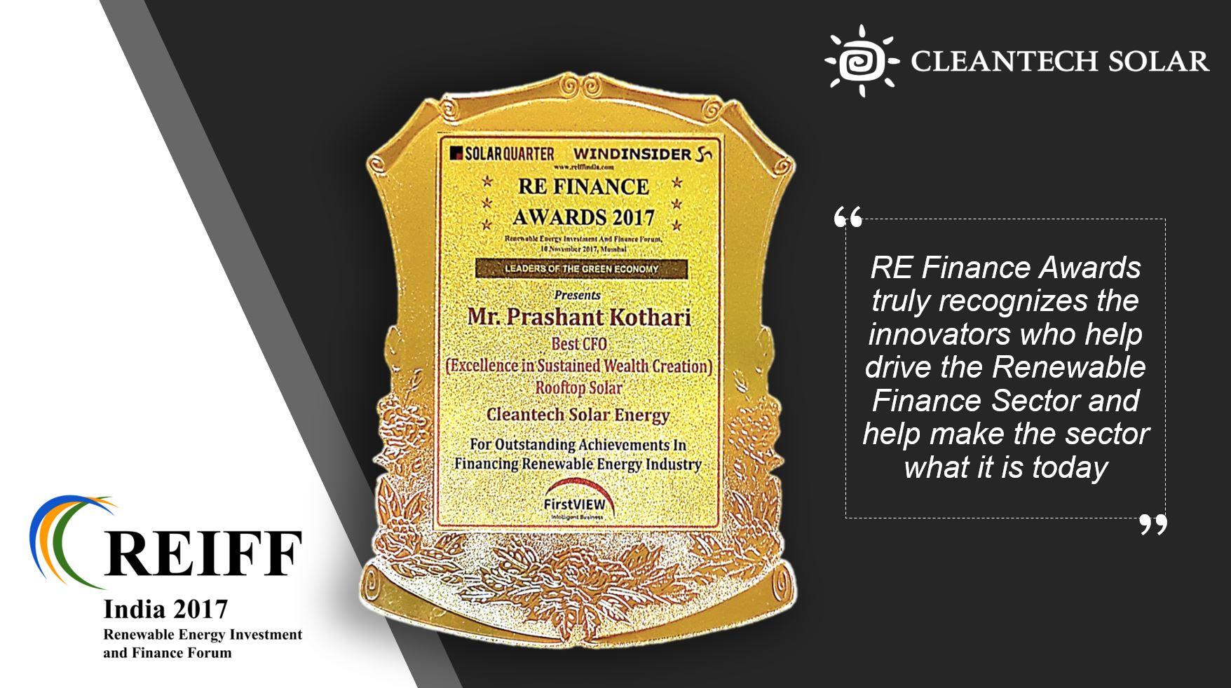 Cleantech Solar Finance Director Best CFO Award